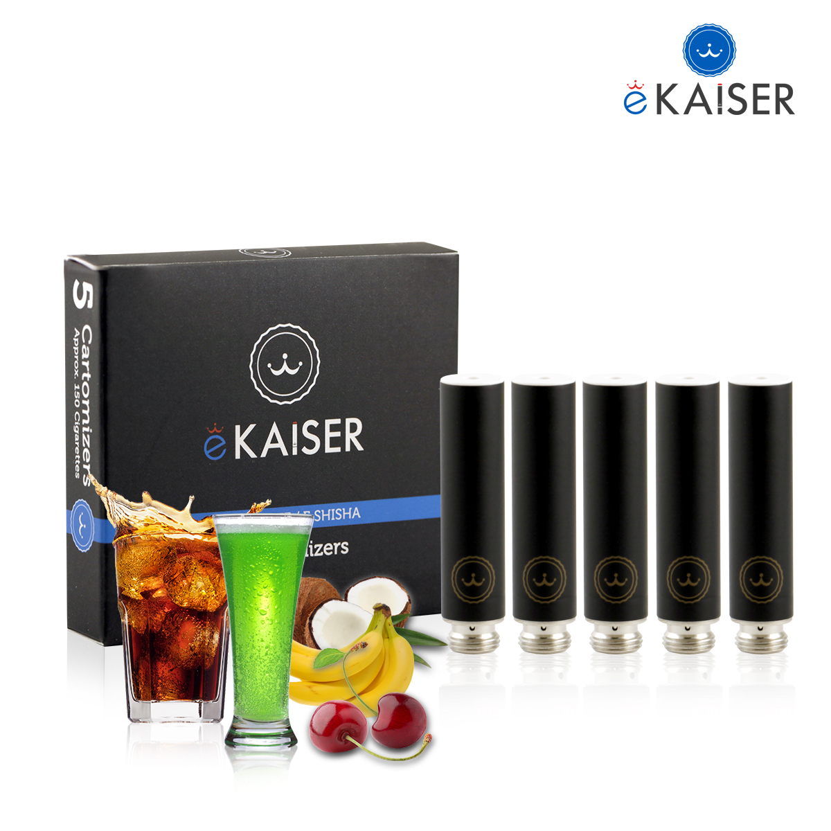 5 Pack Black Cartomizer E Liquid